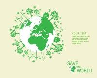 Ökologisch und sparen Sie das Weltgrün Stockfotografie