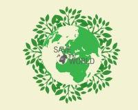 Ökologisch und sparen Sie das Weltgrün Stockbild