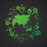 Ökologisch und sparen Sie das Weltgrün vektor abbildung