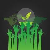 Ökologisch und sparen Sie das Weltgrün stock abbildung