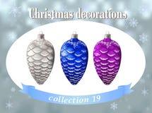 Ökologische, hölzerne Weihnachtsdekorationen Sammlung des Silber-, Blauem und Purpurrotembetrugs Stockbilder