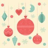 Ökologische, hölzerne Weihnachtsdekorationen Vector Illustration, Plakat, Einladung, Postkarte oder Hintergrund im Retrostil Stockfotos