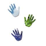 Ökologische handprints Stockfotos