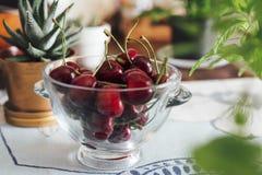 Ökologische Kirschen in der Glasschüssel, auf dem Tisch Lizenzfreie Stockfotos