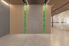 Ökologischer Innenraum der Lobby des Bürooffenen raumes mit konkretem Boden, hölzerne Decke, Aufnahme, Aufzug vektor abbildung