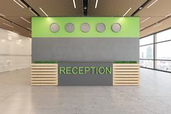 Ökologischer Innenraum der Lobby des Bürooffenen raumes mit konkretem Boden, hölzerne Decke, Aufnahme, Aufzug stock abbildung
