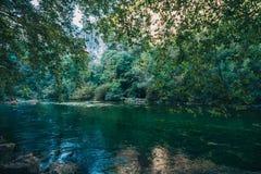 Ökologischer Platz mit reiner Luft und klarem transparentem Gebirgsfluss lizenzfreie stockbilder