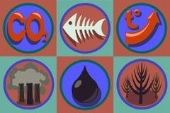 Ökologischer Problemikonensatz Weltverschmutzung, globale Erwärmung Stockfotos