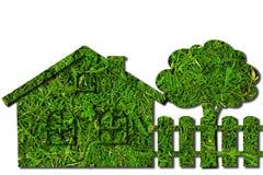 Ökologisches grünes Haus, Zaun und Baum Viele mehr Ökologiebilder in meinem Portefeuille Stockbilder