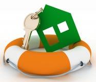 Ökologisches Haussymbol mit Schlüssel in der Leben-Boje Stockfoto