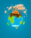 Ökologisches infographics Erdplanet ecocatastrophe Stockfotos