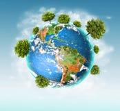 Ökologisches Konzept der Umwelt mit der Bearbeitung von Bäumen Hintergrund ist mit Sternen voll Körperliche Kugel der Erde lizenzfreies stockbild