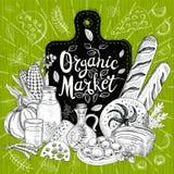 Ökomarkt, Logodesign, gesunder Lebensmittelladen Hand gezeichneter Vektor lizenzfreie stockfotografie