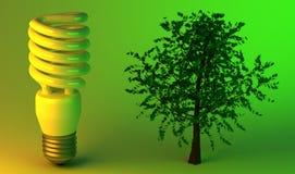 Ökonomische Glühlampe und Baum Lizenzfreies Stockfoto