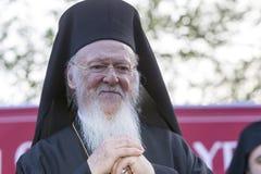 Ökumenischer Patriarch Bartholomew besichtigt Serres an der Kirche von Lizenzfreie Stockfotos