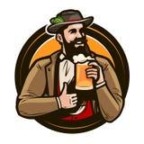 Öl, bryggeri, barlogo eller etikett Oktoberfest emblem också vektor för coreldrawillustration Arkivfoto