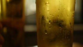 Öl bubblar i ett exponeringsglas av öl stock video