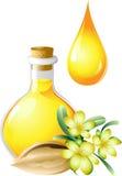 Öl der Buxacee ist in einer Flasche Stockfotos