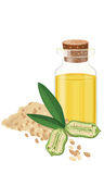 Öl des indischen Sesams, Samen, Frucht, Blatt, Vecctor-Illustration Stockfotografie