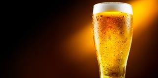 Öl Exponeringsglas av kallt öl med vattendroppar Hantverköl arkivfoton
