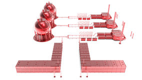 Öl-, Gas- und Brennstofffabrikplan vektor abbildung
