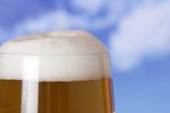 Öl i ett exponeringsglas beergarden in Arkivbild