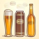 Öl i flaskan, en can och i ett exponeringsglas