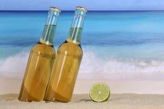 Öl i flaskor på stranden royaltyfri foto