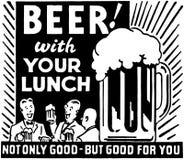 Öl med din lunch royaltyfri illustrationer