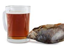 Öl och fisk royaltyfria foton