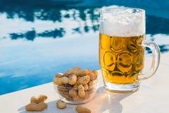 Öl och jordnötter vid pölen royaltyfri fotografi