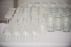 Öl- och vinexponeringsglas Arkivfoto