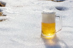 Öl på bakgrunden av snö Royaltyfri Bild