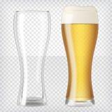 öl skummade upp fulla glass exponeringsglas ett två vektor illustrationer