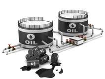Öl-Speicherung Becken Stockfotos