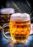 Öl Två kalla öl Utkastöl Utkastöl guld- öl Guld- öl Öl för guld två med fradga överst Kallt öl för utkast i exponeringsglas Arkivfoto