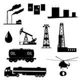 Öl- und Erdölikonensatz. Stockbilder