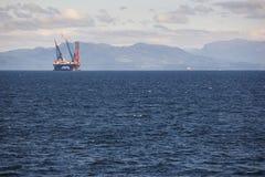 Öl- und Gasseeplattform in Norwegen Energiewirtschaft Ablandig lizenzfreies stockfoto