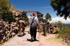 ölakeperu taquile titicaca arkivbilder