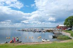 Öland, Sweden. Stora rör, Sweden - July 15, 2017: Stora rör harbor at Kalmar strait on Swedish Baltic sea island Öland. Öland is a popular royalty free stock images