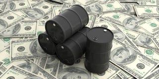 Ölbarrel auf hundert Dollar Banknoten Abbildung 3D lizenzfreie abbildung