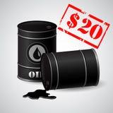 Ölbarrel-Illustrations-Preis 20 Dollar Stockbilder