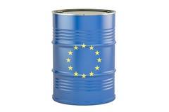 Ölbarrel mit Flagge von EU Geschäftskonzept, Wiedergabe 3D Stockfoto
