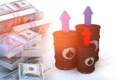 Ölbarrel mit Stapel Dollar vektor abbildung