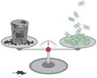 Ölbarrel und Geld auf Skalen Lizenzfreie Stockbilder