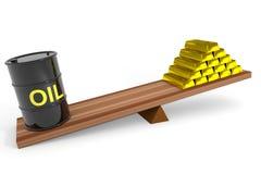Ölbarrel und Goldstäbe auf Skalen. Lizenzfreies Stockfoto