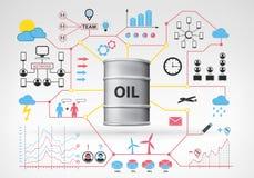 Ölbarrelwaren mit infographic Ikonen und Diagrammen des blauen Rotes herum Stockfotos