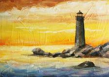 Ölen Sie gemalte Abbildung mit Meer, Sonnenuntergang und Leuchtfeuer Stockbild
