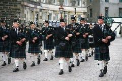 Ölerfilz-königliches britisches Legion-Schottland-Rohr-Band stockfotos