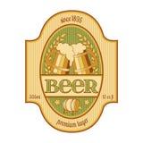 Öletikettdesign i guld- och grönt stock illustrationer